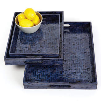 Twos Company Two's Company Midnight Blue Set of 3 Shimmering Gallery Trays with Herringbone Pattern