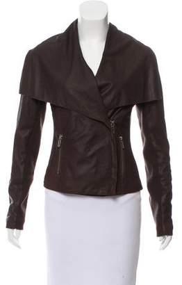 Vince Knit-Trimmed Leather Jacket