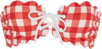 Marysia Swim Antibes Tie-Detailed Gingham Bandeau Bikini Top