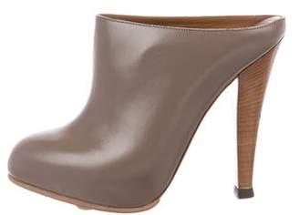 Saint Laurent Leather Round-Toe Mules