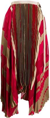 Sacai pleated striped midi skirt