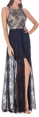 JS Collections Women's Floral Lace Jewelneck Gown