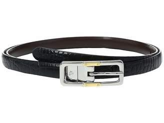 Lauren Ralph Lauren Croc to Smooth Reversible Belt with Two-Tone Buckle