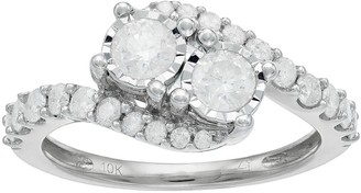 10k Gold 1 Carat T.W. Diamond 2-Stone Bypass Engagement Ring