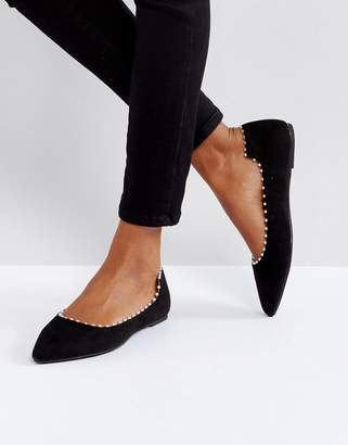 Lost Ink Black Flat Pearl Effect Flat Shoes $48 thestylecure.com