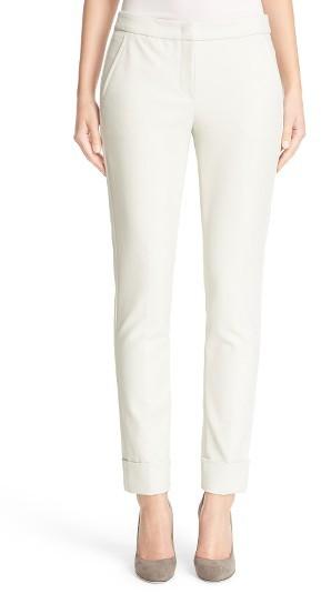 Women's Armani Collezioni Tech Cotton Blend Cuff Pants