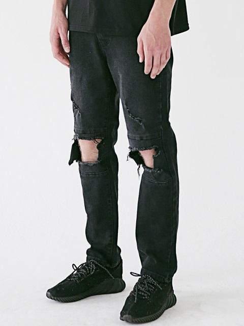 [Unisex] San Black Destroyed Denim Pants Msejp014-Bk