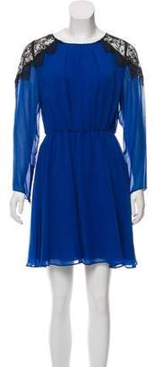 Alice + Olivia Silk Lace-Accented Dress w/ Tags