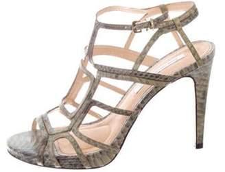 Diane von Furstenberg Embossed Leather Multi-Strap Sandals Green Embossed Leather Multi-Strap Sandals
