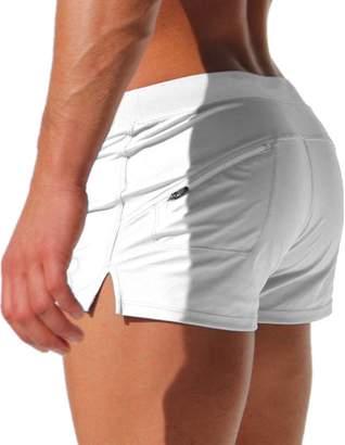Zehui mens swimwear sexy sport shorts tie rope swim trunks