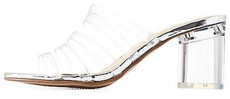 Strappy Lucite Heel Slide Sandals $35.99 thestylecure.com