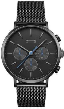 Uri Minkoff Griffith Black Tone Mesh Bracelet Watch, 43MM