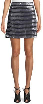 Derek Lam 10 Crosby Striped Embellished Silk A-Line Mini Skirt