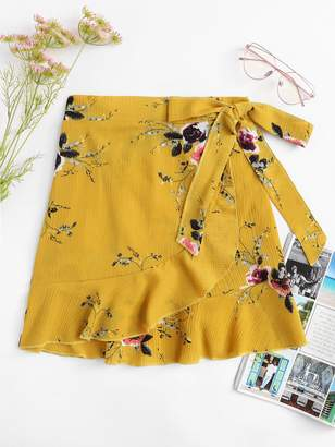 Shein Knot Side Floral Print Ruffle Hem Skirt