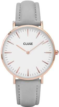 Cluse La Boheme White Dial Rose Tone Case Grey Strap Watch