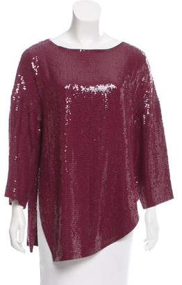 Tibi Asymmetrical Sequined Top