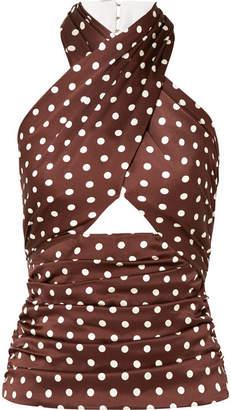 Racil Essaouira Cutout Polka-dot Silk-satin Top