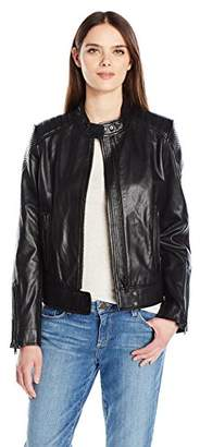 7 For All Mankind Women's Leather Scuba Jacket