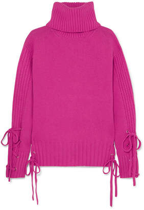 McQ Lace-up Wool And Cashmere-blend Turtleneck Sweater - Fuchsia