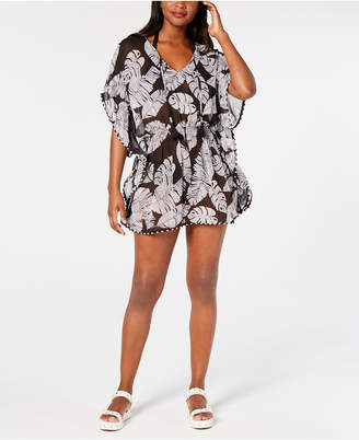 Miken Juniors' Printed Smocked-Waist Cover-Up Women Swimsuit