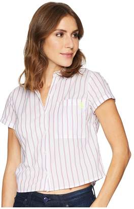 U.S. Polo Assn. Stripe Tie Back Top Women's Clothing