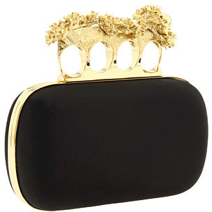 Alexander McQueen Satin Flower Knuckle Box Clutch
