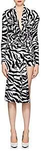 Balenciaga Women's Zebra-Print Microfiber Minidress - White