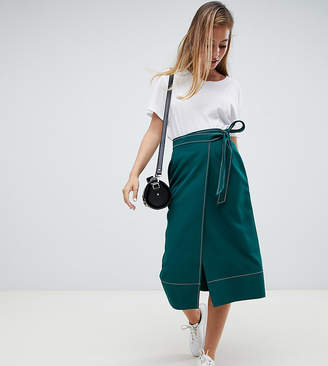 Asos DESIGN Petite Tailored Midi Wrap Skirt with Topstitch