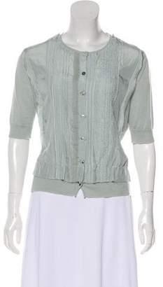 Nina Ricci Cashmere and Silk Short-Sleeve Blouse