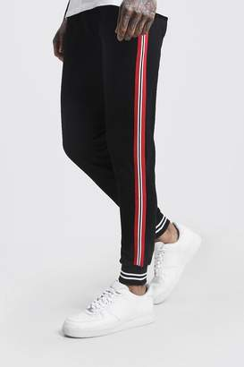 boohoo Side Tape Cuffed Jersey Joggers