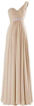 VaniaDress Women One Shoulder Chiffon Long Bridesmaid Dress Prom Gowns V198LF US