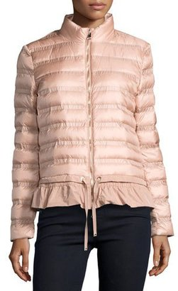 Moncler Anemone Flounce Puffer Jacket, Pink $975 thestylecure.com