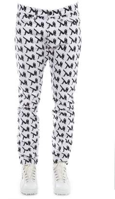 Calvin Klein Jeans Black & White Cotton Jeans With Iconic Print