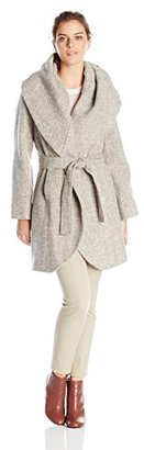 T Tahari Women's Marla Tweed Wrap Coat $70 thestylecure.com
