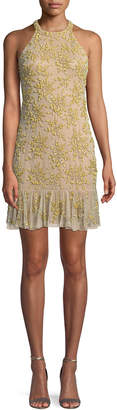 Neiman Marcus Parker Black Rayna Floral Embroidered Mini Halter Cocktail Dress