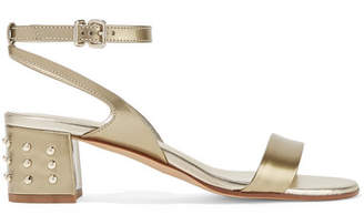 Tod's Studded Metallic Leather Sandals - Gold