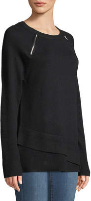 Neiman Marcus Zipper-Shoulder Wrapped-Hem Sweater