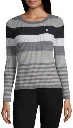 U.S. Polo Assn. Womens Crew Neck Long Sleeve Stripe Pullover Sweater-Juniors