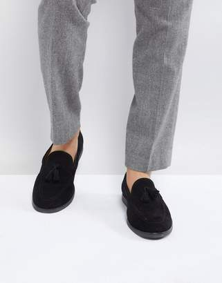 Zign Shoes Suede Tassel Loafers In Black