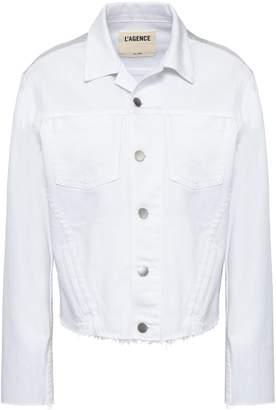 L'Agence Janelle Cropped Iridescent-paneled Denim Jacket