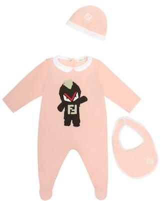 Fendi Cotton bib, hat and onesie set