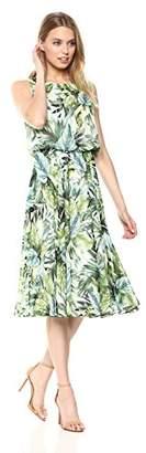 Nine West Women's Sleeveless Blouson Waist LINE Detail MIDI Length Dress