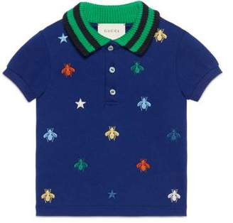 Gucci Baby polo with bees and stars embroidery