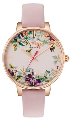 Women's Ted Baker London Round Leather Strap Watch, 38Mm $155 thestylecure.com