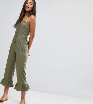 Asos Tall Design Tall Cotton Frill Hem Jumpsuit With Square Neck And Button Detail