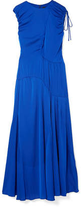 Ellery Oblivion Paneled Silk-blend Satin Midi Dress - Bright blue