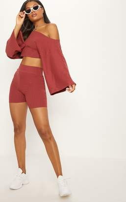 PrettyLittleThing Tobacco Rib Off The Shoulder Crop Top