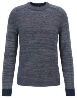 BOSS Hugo Crew-neck knitted sweater contrast ribbed cuffs XL Dark Blue