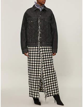 Balenciaga Ladies Black Checked Blanket-Panel Denim Jacket