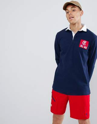 Polo Ralph Lauren Cp-93 Capsule Back Applique Long Sleeve Rugby Polo In Navy